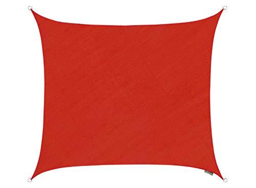 Kookaburra Tenda a Vela Quadrata 5,4m Traspirante Intrecciata Protezione Anti Raggi 90% UV per Ombreggiare Il Giardino, Terrazzo o Balcone (Rosso)