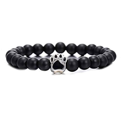 DUOJINZ Trendy Matt Schwarz Naturstein Perlen Armband Für Frauen Männer Tier Schmuck Nette Legierung Hund Klaue Armbänder & Armreifen