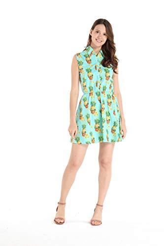 Hawaii Hangover Damen Hemd Kleid Halloween Ananas Totenkopf mit Sonnenbrille - - Groß