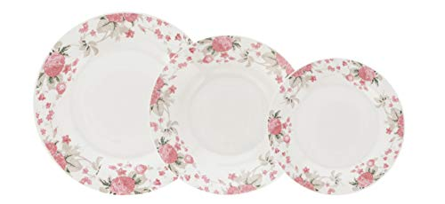 Quid VERA Vajilla de porcelana para 6 personas, 18 piezas, Blanca con ala decorada floral,