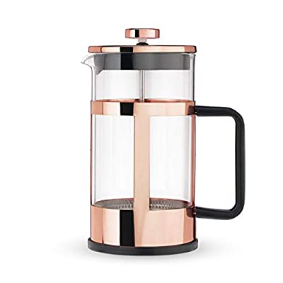 Pinky Up Piper Rose Gold Press Pot Coffee Maker Loose Leaf Accessories, Hot or Iced Tea Beverage Brewer, 34 oz, Copper
