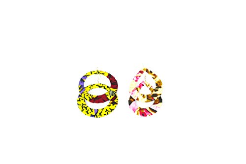 Pendientes de diseño de tejido wax africano, 100% algodón, hechos en Francia, amarillo, morado, rosa, joyas coloridas elegantes hechas a mano, idea regalo original para mujer Boutique Mansaya