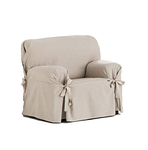 Eysa Italia F616081 Constanza Universal 1 Seat Sofa Cover with Ribbons, Linen