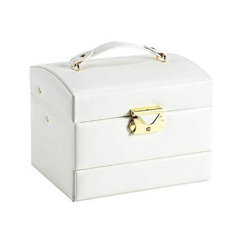 NFRADFM Joyero, caja de joyería de tres capas, caja de joyería de cuero de la PU de la gran capacidad, con espejo, pendientes collar caja de almacenamiento de la joyería