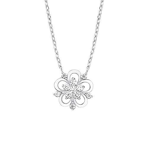 amor Kette mit Anhänger für Damen 42+3 cm mit Anhänger Blume 925 Silber rhodiniert Zirkonia weiß