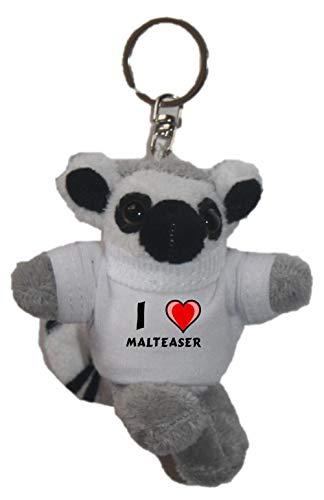 SHOPZEUS Plüsch Katta (Lemur) Schlüsselhalter mit T-Shirt mit Aufschrift Ich Liebe Malteaser (Vorname/Zuname/Spitzname)