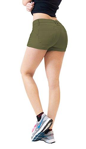 Shorts jeans feminino híbrido & Company 3 polegadas Reg/5 polegadas Plus Costura interna Levanta o bumbum Stretch Twill/Denim, Army Green, 14 Plus