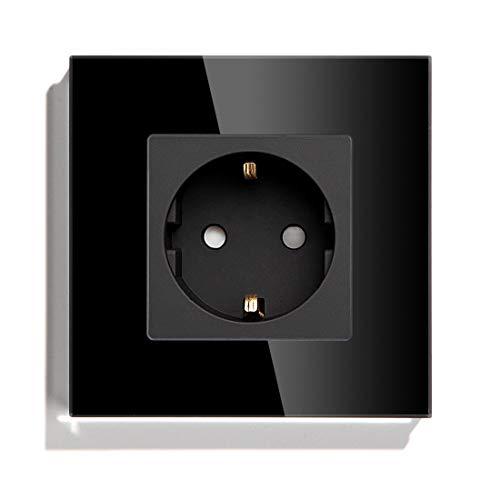 BSEED Schuko Steckdose Kristallglas Platte 1 Fach Steckdose 16Amp AC Power 240V Verlängerungssteckdosen 86mm Wandsteckdose Schwarz