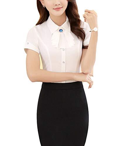 Camisa Casuales Elegante Moda Mujer Blusas Superiores Verano Suit Collar Manga Corta Slim Fit Estrás Basic Un Solo Pecho Negocios Camisa Moda Joven Cómodo Top Ropa