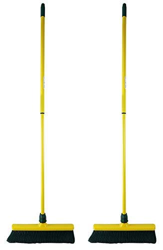 Novaliv Krallenbesen Set 40 cm Kunststoff mit Stiel Schneebesen Kratzbesen Rasenbesen Besen für draußen Outdoor Garden Broom (2, 40 cm Besen mit Stiel)