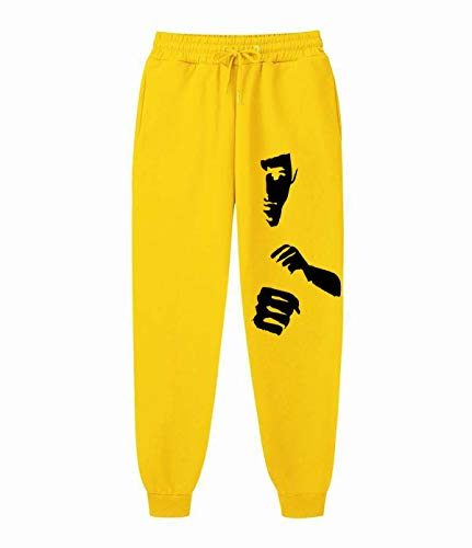 Bruce Lee Mens Drawstring Waist Striped Side Jogger Sweatpants with Pocket Yellow