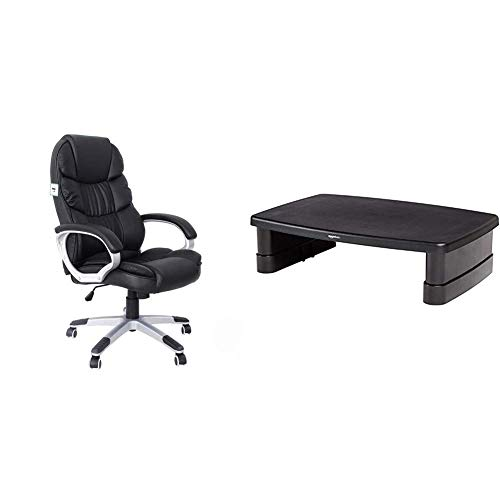 SONGMICS Office Executive Swivel Chair with 76 cm High Back Large Seat and Tilt Function Computer Chair PU Black OBG24BUK & Amazon Basics Adjustable Monitor Stand
