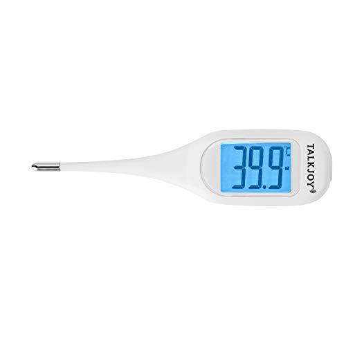 PROFI Sprechendes Fieberthermometer Digitales Thermometer Seniorenthermometer für Blinde oder mit Sehschwäche: Ansage Temperatur & flexible Spitze