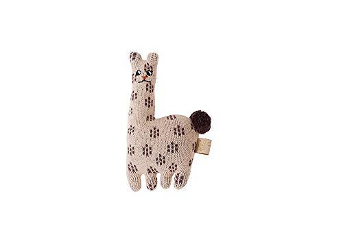 OYOY Baby Rassel Lama - Spielzeug für Babys aus 100% Baumwolle, wattiert gepolstert, 16x10 cm - 1100843