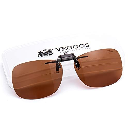 VEGOOS クリップサングラス 跳ね上げ式 UV400 紫外線カット 偏光サングラス 車 スポーツ 釣り ドライブ 運転 男女兼用 メガネの上からサングラス (ブラウン, 56*33mm)