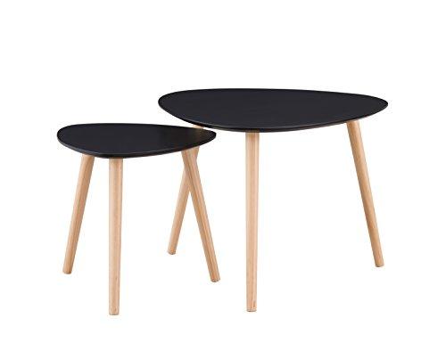 Galet Lot de 2 Tables Basses Gigognes Scandinave Vintage Noir Mat Piétement Pin Massif 60-45 cm x 40 x 40 cm