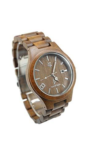 Armbanduhr aus Holz für Männer und Frauen – Koa-Holz / Saphir-Kristall Zifferblatt Fenster/Analoges Citizen Uhrwerk/Holz-Uhrenarmband/inklusive Logo-Prägungs-Box