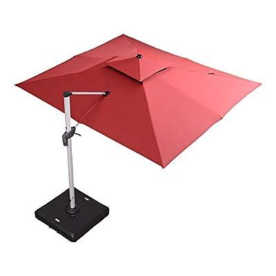PURPLE LEAF Double Top Deluxe Rectangle Patio Umbrella Offset Hanging Umbrella Outdoor Market Umbrella Garden Umbrella
