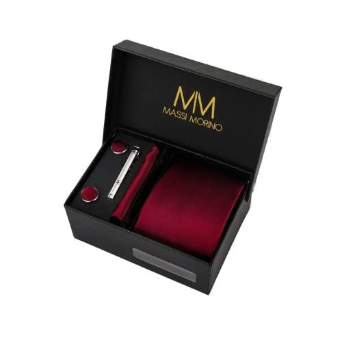 Massi Morino ® Set de corbata (caja regalo para hombres) Corbatas de hombre y pañuelos + gemelos + clip de corbata (Vino Rojo)
