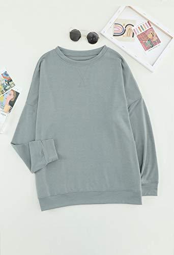 GOSOPIN Sweatshirts Womens Casual Sport Daily Wear Autumn Basic Warm Long Sleeves Jumper Pullover Sweatshirts Grey UK 12