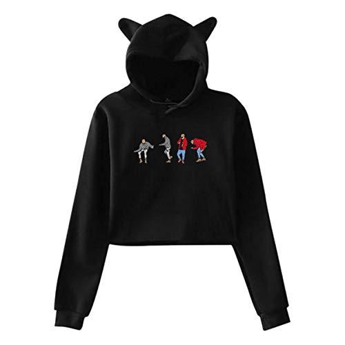 Uoliicoze Damen Cat Ear Hoodie Logo von Hotline Bling Drake Views Lendenpullover Sweatshirt