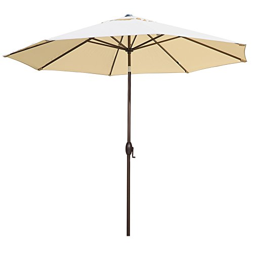Abba Patio 11-Feet Patio Umbrella Outdoor Table Umbrella with Push Button Tilt and Crank, Sand/Beige