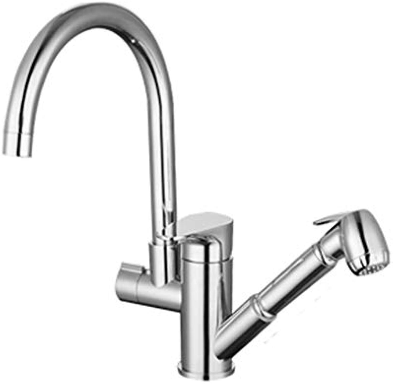 JFFFFWI Teleskop Wasserhahn Kupfer hei und kalt Dual Use Rotary Waschen Stretch Kitchen Sink Sink Universal Aperture 32 mm bis 40 mm installiert Werden kann