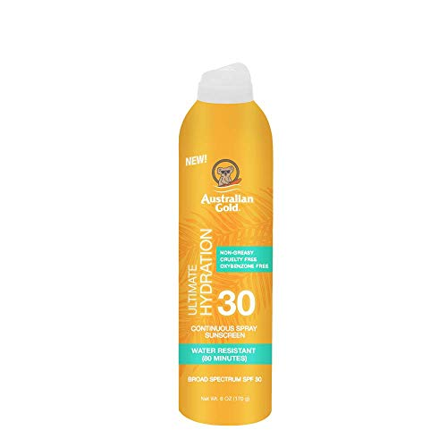 Australian Gold Continuous Spray Sunscreen SPF 30, 6 Ounce | Dries Fast | Broad Spectrum | Water Resistant | Non-Greasy | Oxybenzone Free | Cruelty Free