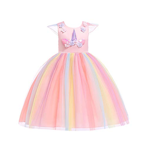TENDYCOCO Girls Christmas Tutu Dress Unicorn Elegant Costume Princess Dress Kids Outfit (Pink, 130cm)