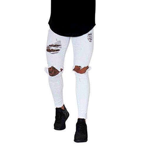 LuckyGirls Pantalones Hombres Vaqueros Originales Rotos Casuales Motocicleta Pantalones Slim Agujero Elasticos Streetwear Moda Pantalón (M, Blanco)