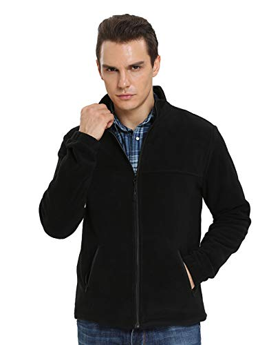 iloveSIA Winter Fleecejacke Herren Fleece Jacket for Man Jungen Sportlich Winterjacke Übergangsjacke Leicht Schwarz L