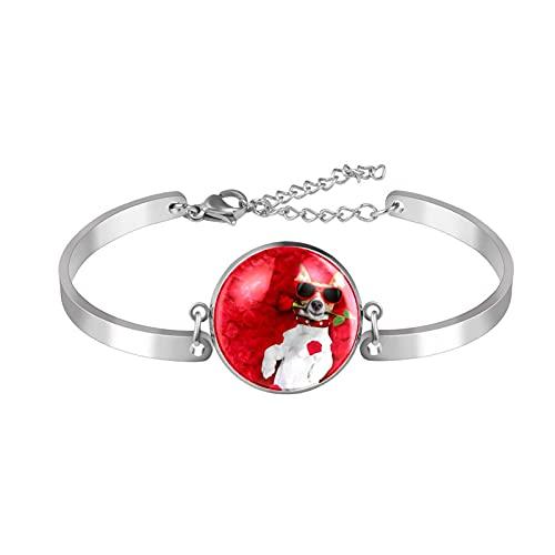 Pulsera de encanto pulsera pulseras únicas perro de moda con gafas rosas rojas flor niñas mujeres