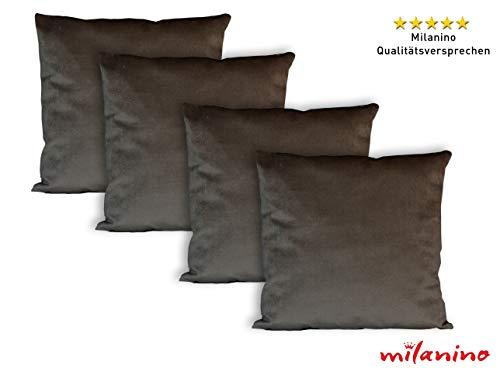 milanino 4er Set Dekokissen mit Füllung und Bezug 45x45 cm | Premium Füllkissen samtweich Sofakissen Couchkissen Zierkissen mit Kissenhülle | pflegeleicht | mit Reißverschluss | modernes Design braun
