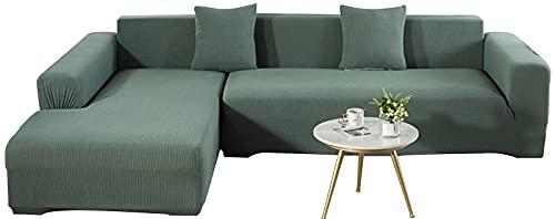 KIKIGO Sofa üBerwüRfe L Form,Sofa Elastische Stretch Sofabezug Sofa üBerzug,Green_l_Style-3+3_Seater