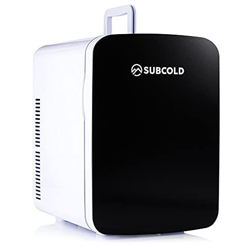 Subcold Ultra15 Mini Kühlschrank - kühlt und heizt   15 Liter / 17 Dosen 330ml   220V / 12V   Tragbarer kleiner Kühlschrank für Zimmer, Kosmetik, Büros, Auto, (Schwarz)