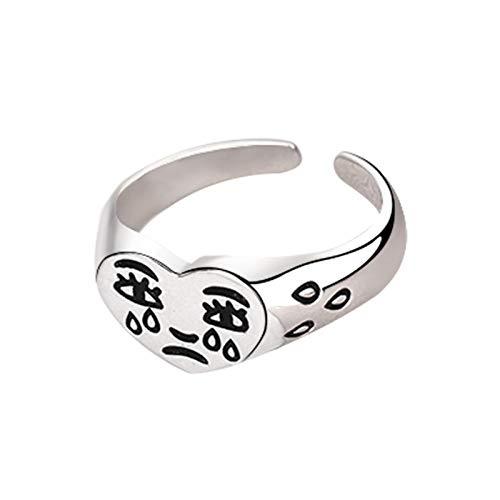 Anillo abierto de aleación en forma de corazón llorando cara dedo joyería ajustable tallado anillo regalo para mujeres hombres