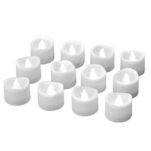LED Kerzen, eLander LED Tee Lichter flammenlose Kerzen mit Timer, Automatikmodus: 6 Stunden an und 18 Stunden aus, 3.2x3.6 cm, (12 Stück, Kalt-weiß)