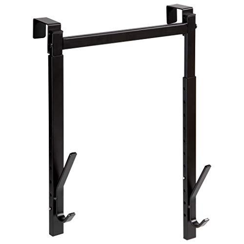 Richards Homewares Over The Door Hanger 2 Organizer Rack Adjustable Height Hooks for Coat Hat Scarf Bag Accessory-Black