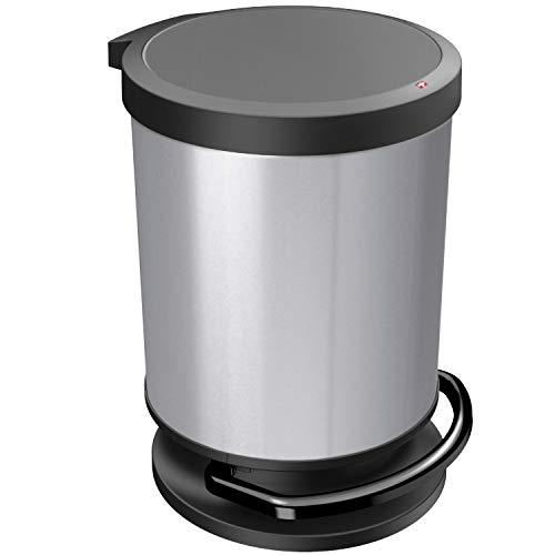 Rotho Paso Poubelle 20l avec Pédale et Couvercle, Plastique (PP) sans BPA, Argent Métallisé, 20l (35,7 x 30,2 x 43,2 cm)
