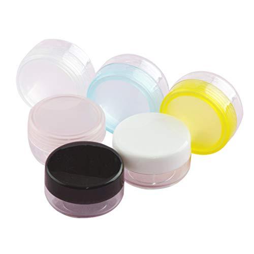 Cabilock 50 Pcs Conteneurs D'échantillons en Plastique Ronds Pots de Boue en Plastique Transparent avec Couvercles pour Maquillage Cosmétique Accessoires de Voyage Bouteilles 10G (Couleur Aléatoire)