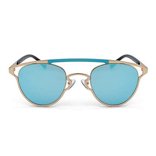 SWNN gafas de sol Color Retro Personality Gafas de sol Nuevo Oval Hollow Unisex UV400 Protección Marco Oro (Color: Azul)