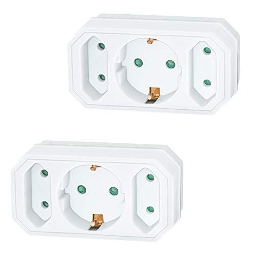 benon 2X Mehrfachstecker Weiß - Reisefreundlicher Steckdosen-Adapter - Doppelstecker 3500W - 3Fach Multistecker - 2X Euro- und 1x Schuko - Mehrfachsteckdose