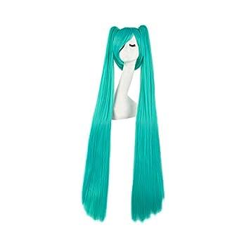 MapofBeauty 47 Inch/120cm Beautiful Long Straight Cosplay Wig  Mixed Cyan