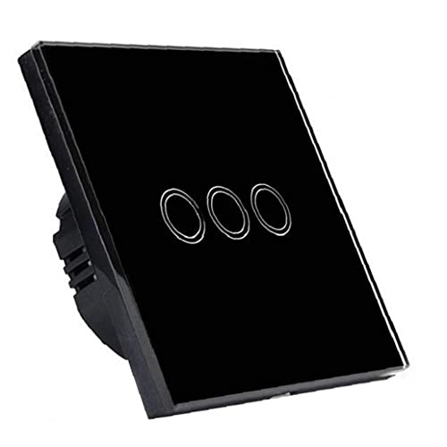 Sanfiyya Interruptor de Pared táctil Inteligente de una Sola línea 3 Gang 86 Cambio de la UE para RF433 Control Remoto Negro Industrial para Uso Pesado