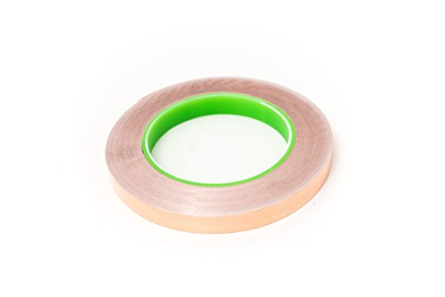 Bertech Copper Foil Tape with Conductive Adhesive, 1/4 In. Wide x 36 Yards Long - Slug Repellent, EMI Shielding, Electrical Repairs, Guitar Repairs, Soldering Repairs, Grounding, RoHS Compliant
