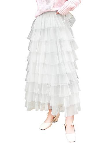 ebossy Women's Sweet Elastic Waist Tulle Layered Ruffles Mesh Long Tiered Skirt (Large, White)