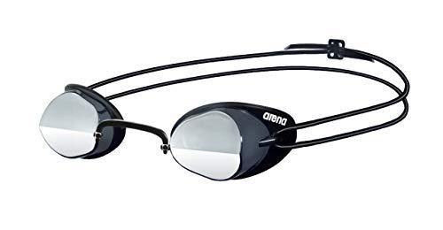 arena Unisex Wettkampf Schweden Schwimmbrille Swedix Mirror (Verspiegelt, UV-Schutz, Anti-Fog Beschichtung), grau (Smoke-Silver-Black), One Size
