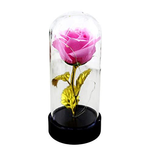 Enchantée Plaqué Or 24K Rose Fleur dans Un Dôme en Verre Couvercle avec Base en Bois Lumière LED pour Cadeau d'anniversaire De Mariage De Saint Valentin