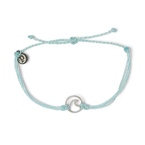 Pura Vida Silver Wave OG Bracelet - Silver Plated Charm, Adjustable Band - 100% Waterproof