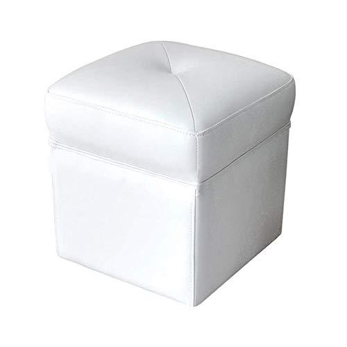 YLCJ Pouf Contenitore, poggiapiedi cubo in Ecopelle, cassapanca con Imbottitura in Spugna Altamente Elastica, Marrone, 36 * 36 * 39 cm (Colore: Bianco, Dimensioni: 36 * 36 * 39 cm)